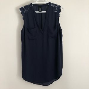 Torrid navy sleeveless blouse with lace shoulder